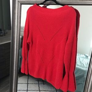 Loft Red Flare Sleeve Sweater
